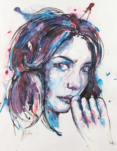 Blue girl 14 / technique mixtes / 2015 / 52 x 42 cm