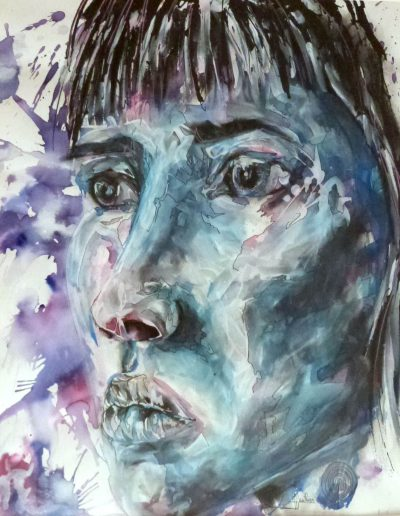 Blue girl 0 / technique mixtes / 2015 / 72 x 52 cm