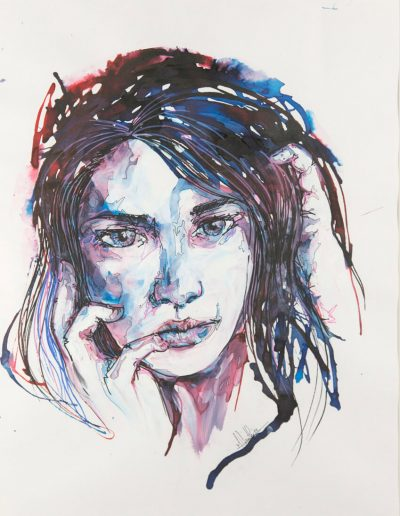 Blue girl 10 / technique mixtes / 2016 / 42 x 32 cm