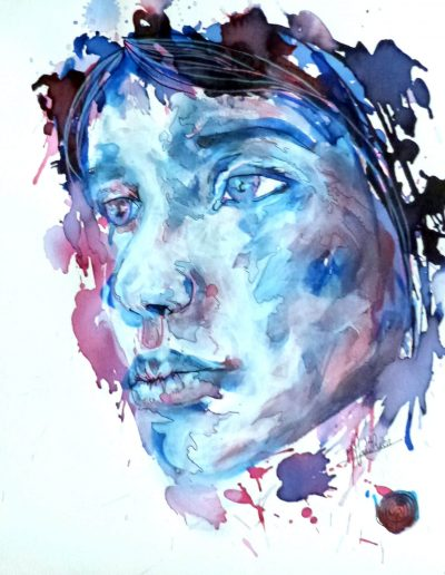 Blue girl 13 / technique mixtes  / 2016 / 42 x 32 cm