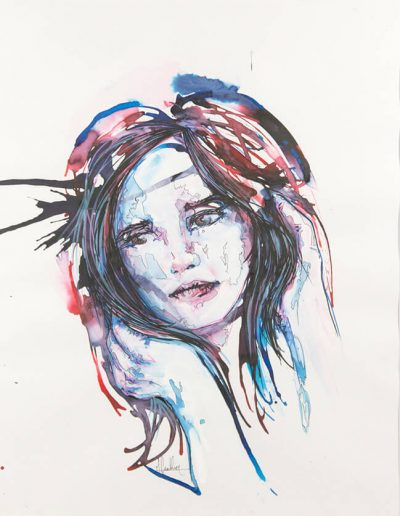 Blue girl 6 / technique mixtes / 2016 / 42 x 32 cm