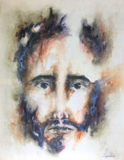 autoportrait à la melancolie / 2018 / huile sur toile brute  / 120 x 120 cm