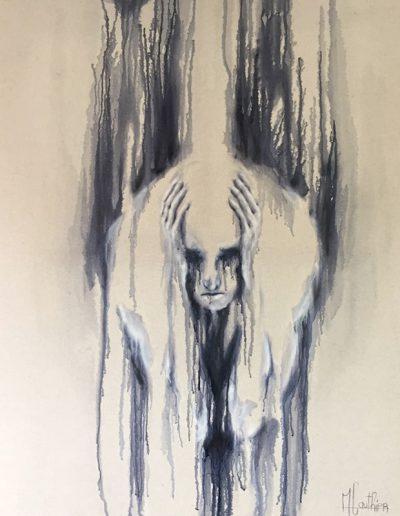 le deuil des savoirs / huile sur toile / 2018 / 120 x 100 cm