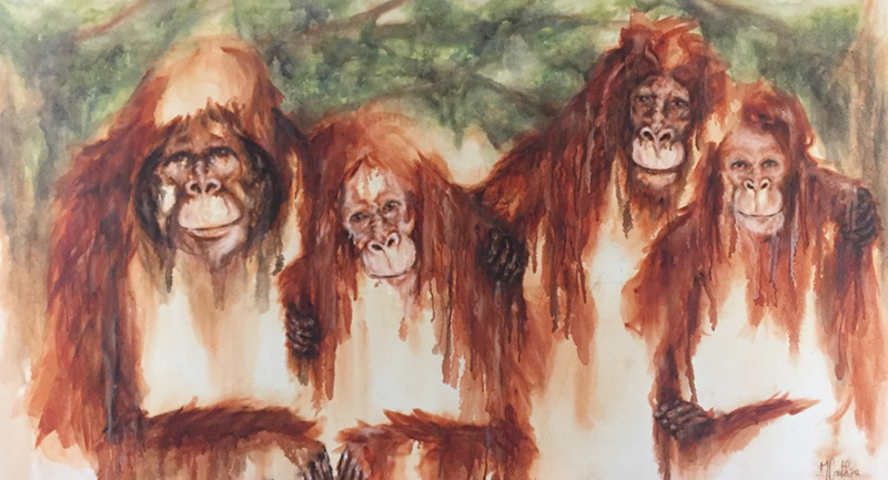 Monky familly  / huile sur toile / 2018 / 200 x 110 cm