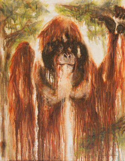 Old wise monkey - 120 x 100 cm - huile sur toile - 2019