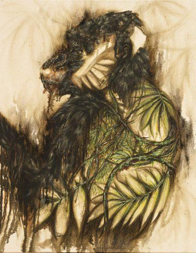 Gorilla's soul 1 - 120 x 100 cm - huile sur toile brute - 2019